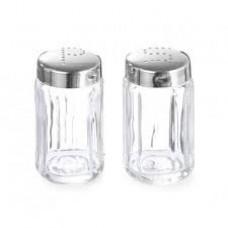 Set 2 recipiente din sticla pentru sare si piper cu suport din inox