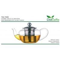 Ceainic din sticla thermo  TEA TIME, cu capac si infuzor inox, 450ml, DelCaffe