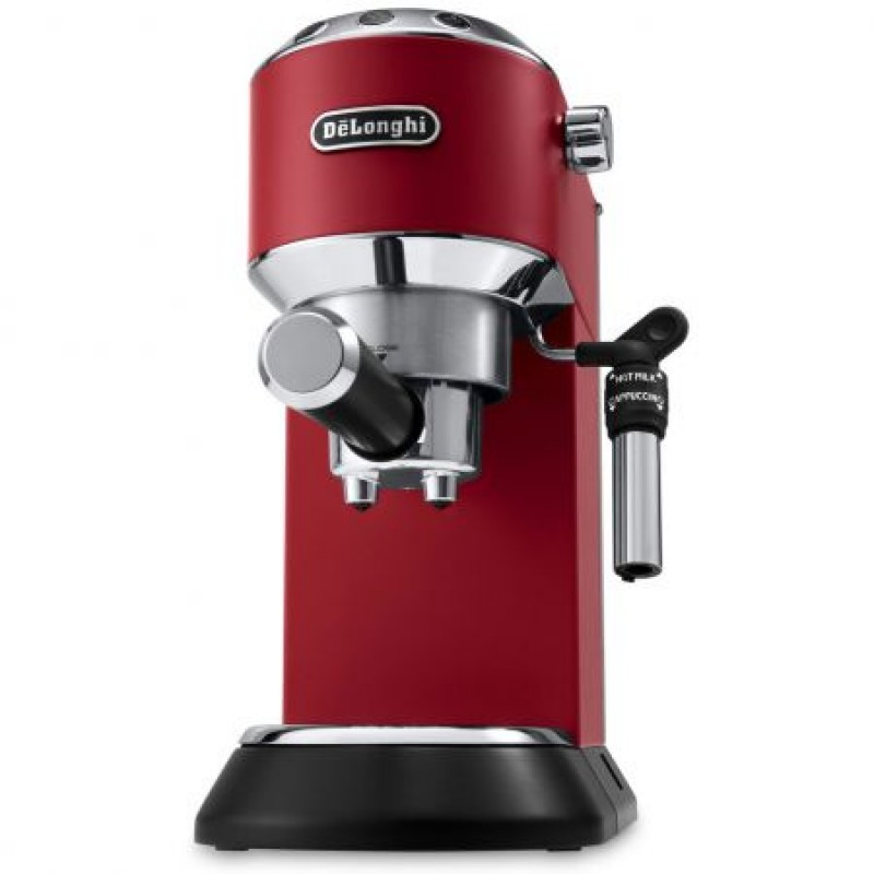 Espressor manual DeLonghi Dedica Style EC 685, 1300 W, 15 Bar, 1.1 l, Slim, Rosu