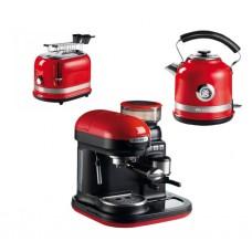 Pachet espressor manual cu rasnita incorporata, cana electrica si prajitor de paine Moderna, Ariete, 1080 W, 15 Bar, Rosu/Negru