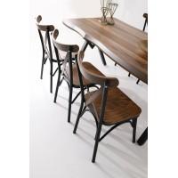 Set Masa Living Ku Design 140 + 4 Scaune Eko Design Lemn Maron