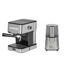 Pachet Espressor Cu Pompa Studio Casa Espresso Mio Sc 2001, 850 W, 15 Bar, 1.2 L, Inox + Rasnita Del Caffe Grind Master, 220W, 60G