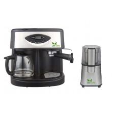 Pachet Espressor Del Caffe Coffeeshot 3 In 1 , 15 Bari, 1.25 L, Functie Spumare, Programare, Negru/Inox + Rasnita Del Caffe Grind Master, 220W, 60G
