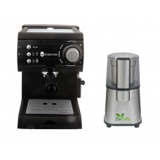 Pachet Espressor Cu Pompa Aroma Sc422 Black Studio Casa, 15 Bari, 1.5L, 1050W, Negru+ Rasnita Del Caffe Grind Master, 220W, 60G
